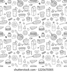 Seamless pattern with cute hand drawn breakfast icons. Doodle vector collection. Food illustration
