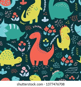 Seamless pattern with cute hand drawn dinosaurs for baby and kids fabric, textiles, wallpapers and products