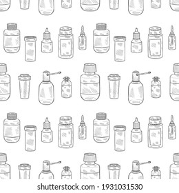 Seamless pattern with cute hand drawn bottles for pills, mixtures and other medical or cosmetology preparation. Vector medical collection
