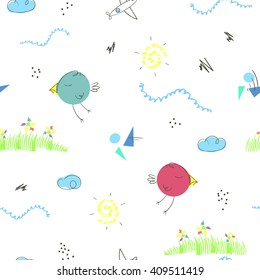 Seamless pattern with cute hand drawn cartoons of summer landscape. Children vector background good for kid's room, clothes, toys, cards, wrapping