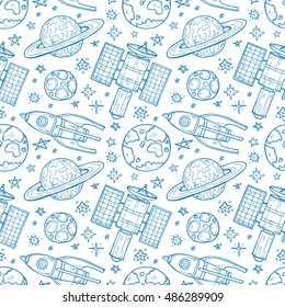 Seamless pattern with cute hand drawn space objects: stars, rockets, planets, etc. Hand-drawn vector collection