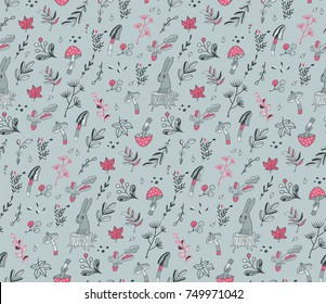 Seamless pattern with cute hand drawn rabbit in the forest. Beautiful leaves, mushrooms and branchlets. Adorable animal vector illustration. Autumn season image. Berries and leaves.