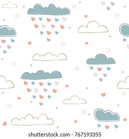 Seamless pattern with cute hand drawn clouds raining with hearts on white background. great for swatches, fabric, wall art, wrapping, nappy, etc. Vector Illustration
