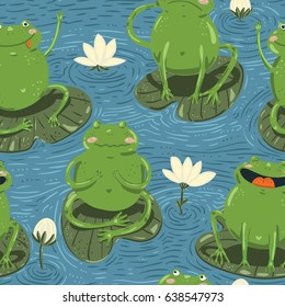Seamless pattern with cute hand-draw frogs and waterlily in a on the pond  on cartoon style on blue background. Vector children illustration.