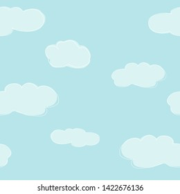 Seamless pattern with cute hand-drawn clouds on blue background. Vector illustration in sketch style. Doodle.