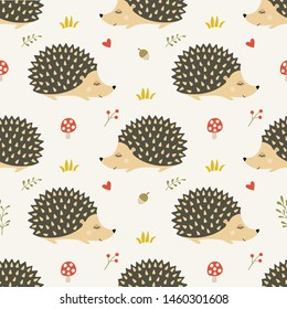 Seamless pattern with cute handdrawn hedgehogs in the forest.