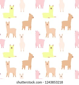 Seamless pattern of cute hand-drawn llamas or alpacas on a transparent background. Illustration for children, room, textile, clothes, cards, wrapping paper.