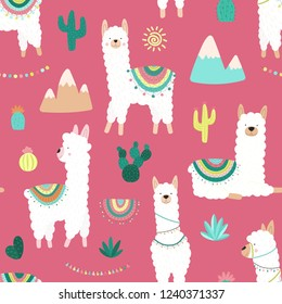 Seamless pattern of cute hand-drawn white llamas or alpacas, cacti, mountains, sun, garlands on a pink background. Illustration for children, room, textile, clothes, cards, wrapping paper.