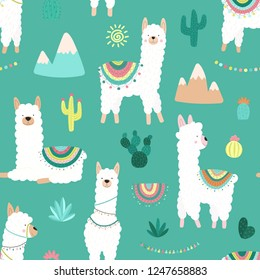 Seamless pattern of cute hand-drawn white llamas or alpacas, cacti, mountains, sun, garlands on a blue background. Illustration for children, room, textile, clothes, cards, wrapping paper.
