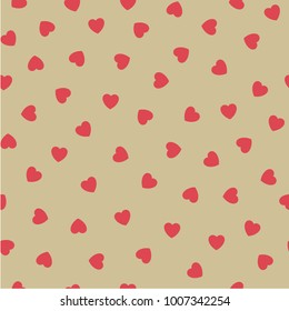 Seamless pattern with cute hearts. Vector ornament for Valentine's day. Romantic design with hearts. Valentine's day background.