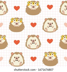 The seamless pattern of cute hedgehog wear bowtie and flower crown with heart in flat vector style. illustation about wedding and background.