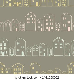 Seamless pattern of cute houses