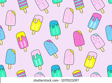 Seamless pattern with cute ice cream. Fruit ice cream  on pink. For prints on T-shirts, textiles, paper products, the Web.