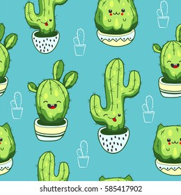 Seamless pattern with cute kawaii cactus and succulents with funny faces in pots. Blue background. Vector illustration