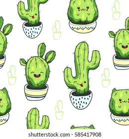 Seamless pattern with cute kawaii cactus and succulents with funny faces in pots.White background. Vector illustration