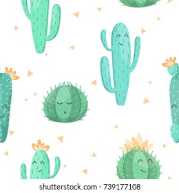Seamless pattern with cute kawaii cactus and succulents with funny faces. isolated on white background. Vector illustration. wrapping paper design
