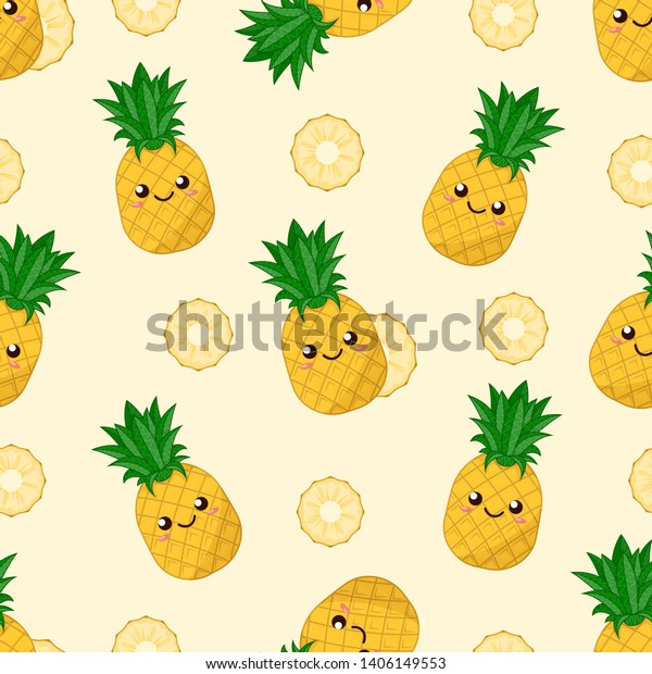 Seamless Pattern Cute Kawaii Pineapples Round Stock Vector