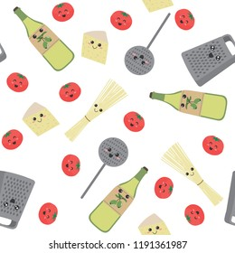 Seamless pattern with cute Kitchen utensils: spaghetti, tomatoes, cheese, olive oil, grater, skimmer on a blue background. The ingredients for a recipe of pasta in cartoon style. Vector illustration.