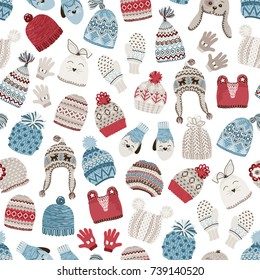 Seamless pattern with cute knitted hats, vector winter illustration in Christmas style on white background.