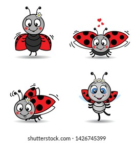 Seamless pattern with cute ladybird - vector stock illustration