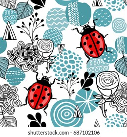Seamless pattern with cute ladybirds and design elements in scandinavian style. Cute wallpaper in blue colors.
