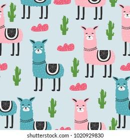 Seamless pattern. Cute. Lama. Scandinavian. Children's. Clothes, postcard.