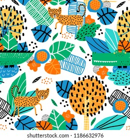 Seamless pattern with cute leopard, crocodile and tropical plants. Vector texture in childish style great for fabric and textile, wallpapers, backgrounds. Creative jungle childish texture.