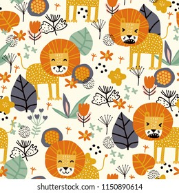Seamless pattern with cute lion and tropical plants. Vector texture in childish style great for fabric and textile, wallpapers, backgrounds. Creative jungle childish texture.