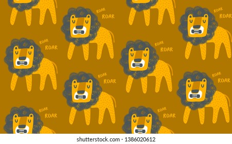 Seamless pattern cute lions in africa. Vector endless background with wild animals.