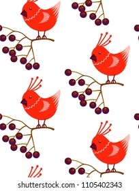 Seamless pattern Cute little cartoon birdie character.Red Cardinal stylized funny bird sitting on Rowan branch with berries. forest animal. beauiful Christmas New Year Wrapping paper textile design