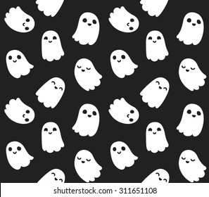 Seamless pattern of cute little cartoon ghosts on black background.
