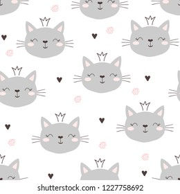 Seamless pattern with cute little cat. vector illustration.