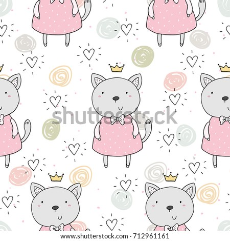 250da2744e5 Seamless Pattern Cute Little Cat Vector Vector de stock (libre de ...