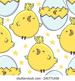 seamless pattern cute little chicken  vector illustration egg