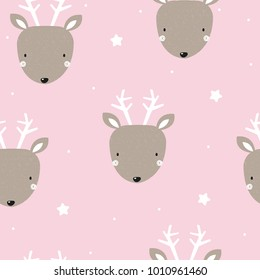 Seamless pattern with cute little deer. Vector hand drawn illustration.