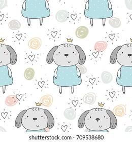 Seamless pattern with cute little dog. vector illustration.
