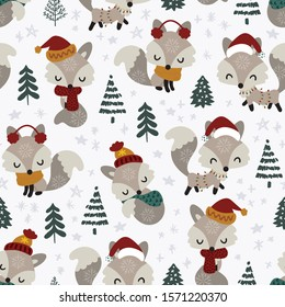 Seamless pattern of cute little foxes in spruce forest on white starry background. Beautiful winter Christmas collection. Modern and simple with warm colour vector illustration.