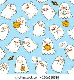 Seamless pattern with cute little ghosts with pumpkins and bats on blue background - cartoon background for funny Halloween textile or wrapping paper design