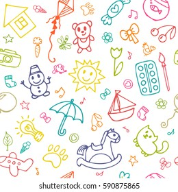 Seamless pattern for cute little girls and boys. Doodle children drawing background. Sketch set of drawings in child style. Vector illustration