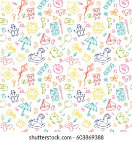 Seamless pattern for cute little girls and boys. Sketch set of drawings in child style. Doodle children drawing background. Vector illustration