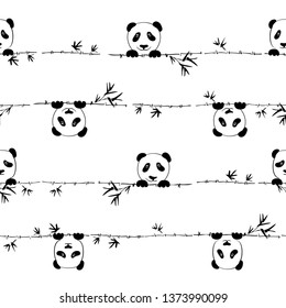 Seamless pattern cute little panda with branch bamboo. Seamless pattern can be used for wallpaper, pattern fills, web page background,surface textures.