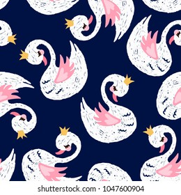 Seamless pattern with cute little princess swan. Cartoon hand drawn vector illustration. Can be used for fashion print design, kids wear, greeting and invitation card.