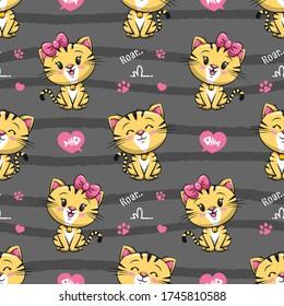Seamless Pattern Cute Little Tiger. Cat Cartoon Illustration