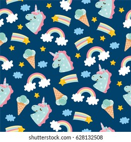 Seamless pattern with cute little unicorn. Ice cream, clouds, unicorn, rainbow and stars. Amazing illustration for kids. Night theme for wallpaper, print, textile.
