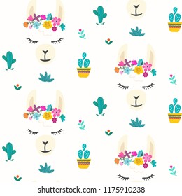 Seamless pattern with cute llama alpaca character vector graphic design. Cartoon llama head with flower crown illustration for party decor or print