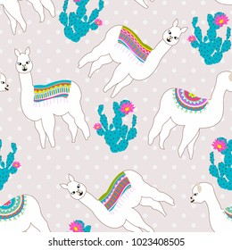 Seamless pattern with cute llama, castus and flower. Vector abstract background for kid. Hand drawn lama design with sweet polka dot background