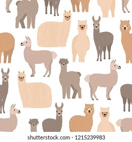 Seamless pattern with cute llamas and alpacas on white background. Backdrop with funny wild wooly domestic animals. Colorful vector illustration in flat cartoon style for fabric print, wallpaper.
