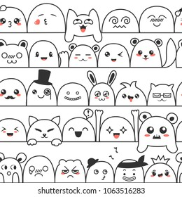 Seamless pattern with cute lovely kawaii monsters and animals. Doodle cartoon clouds with faces in manga style. Cute emoticon emoji hand drawn characters. Emotion smile cartoon