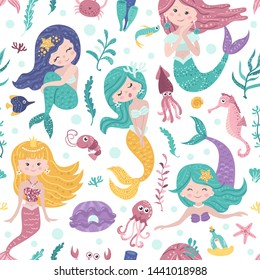 Seamless pattern with cute mermaids, seaweed and fishes. Vector illustration for your design