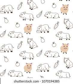 Seamless pattern with cute micro pigs in different poses.